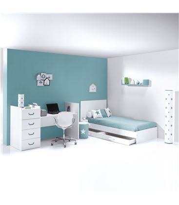 CUNA CONVERTIBLE JUST JOY VERDE MATE - K379-M7781-DISM-DRAWERS-OPEN
