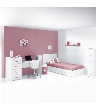 CUNA CONVERTIBLE JUST JOY ROSA MATE - K379-M7782-DISM-DRAWERS