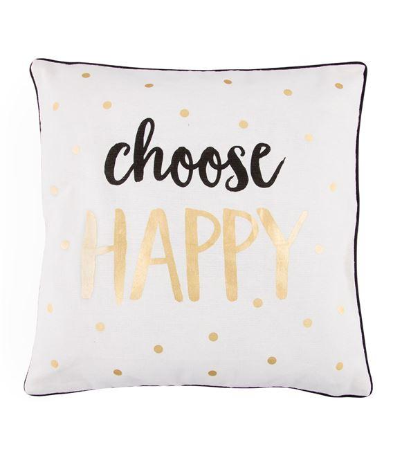 COJIN CHOOSE HAPPY METALLIC MONOCHROME - COJIN-CHOOSE-HAPPY-SASSBELLE