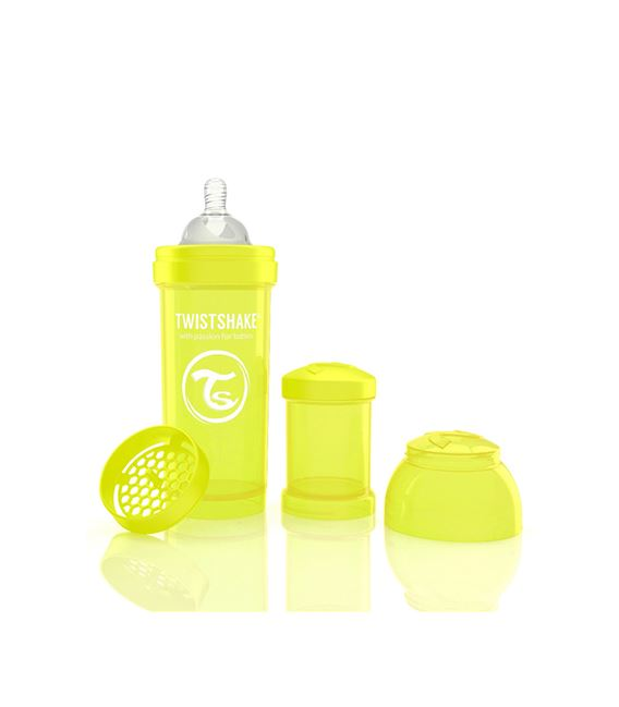 BIBERON TWISTSHAKE ANTICOLICO 260ML AMARILLO - TWISTSHAKE-BIBERON-ANTICOLICO-260-AMARILLO