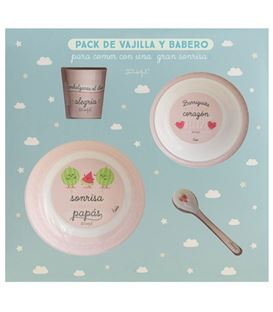 SET VAJILLA CON BABERO Y VASO ROSA MR WONDERFUL