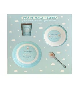 SET VAJILLA CON BABERO Y VASO AZUL MR WONDERFUL