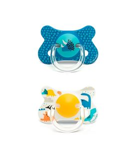 PACK 2 CHUPETES DINOSAURIOS SILICONA AZUL Y AMARILLO +18M