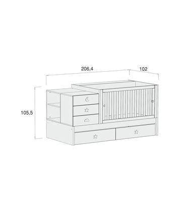 CUNA CONVERTIBLE SERO BUBBLE BLANCO MATE CON CAJONES - K554C-M7700-DISM