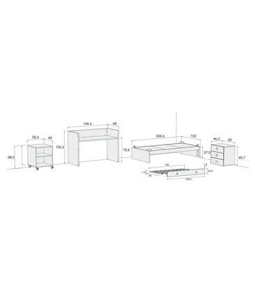 CUNA CONVERTIBLE SERO BUBBLE BLANCO MATE CON CAMA NIDO - K554N-M7700-DISM
