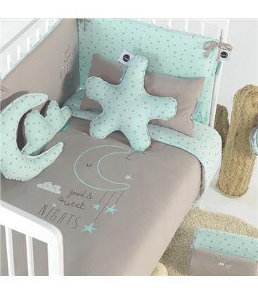 FUNDA NORDICA+ FUNDA ALMOHADA 60x120 100X135 SWEET NIGHTS MENTA - FUNDA-NORDICA-SNMINT3