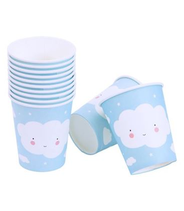 SET 12 VASOS DE PAPEL CLOUDS - VASOS-NUBE2