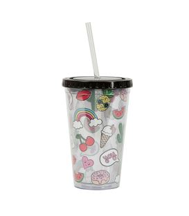 VASO CON PAJITA PATCHES & PINS - ZIP017