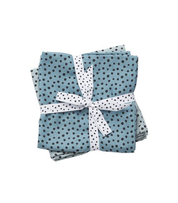 PACK 2 MUSELINAS 120X120 HAPPY DOTS BLUE - 30698