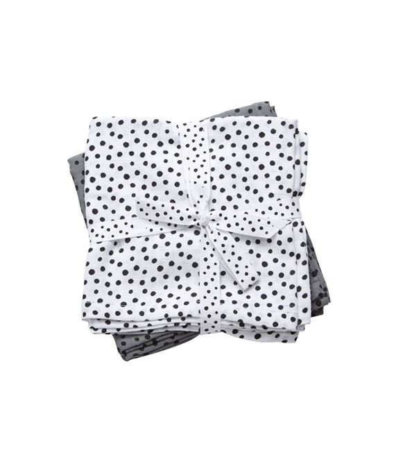 PACK 2 MUSELINAS 120X120 HAPPY DOTS GREY - 30699