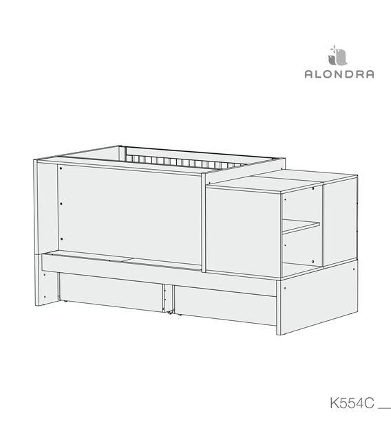 CUNA CONVERTIBLE SERO BUBBLE ROSA MATE CON CAJONES - K554C-TECH-BACKVIEW