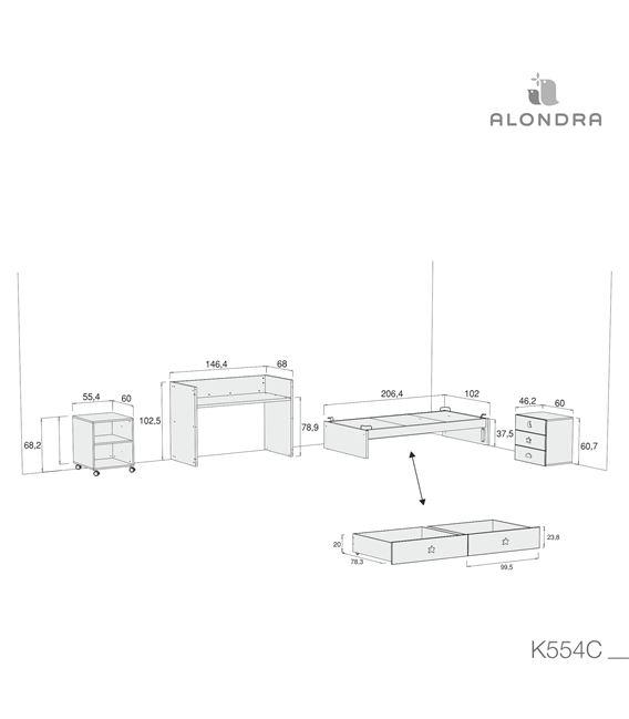 CUNA CONVERTIBLE SERO BUBBLE ROSA MATE CON CAJONES - K554C-TECH-DISM
