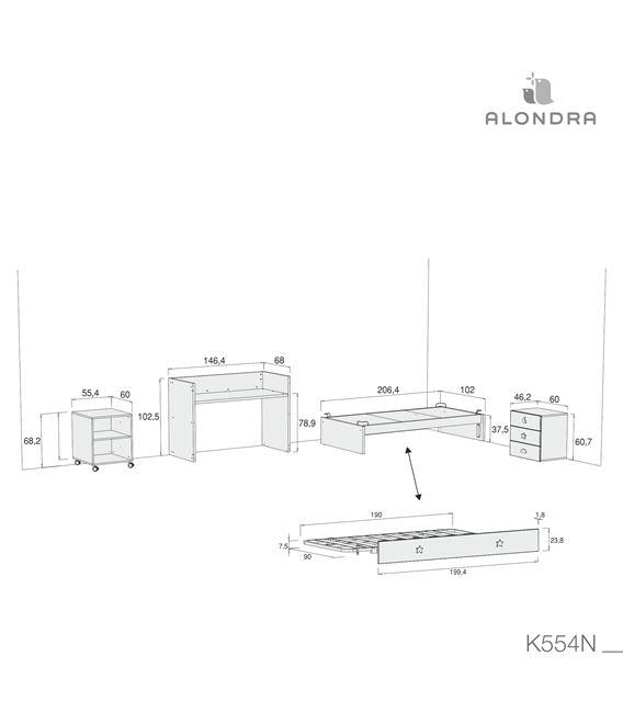 CUNA CONVERTIBLE SERO BUBBLE ROSA MATE CON CAMA NIDO - K554N-TECH-DISM