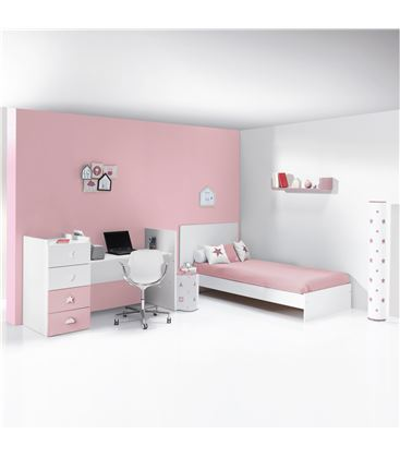 CUNA CONVERTIBLE JUST BUBBLE BLANCO Y ROSA MATE - K374-M7752-DISM