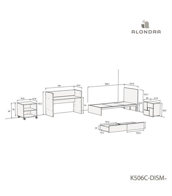 CUNA CONVERTIBLE NEO CLIP BLANCO CON CAJONES - K506C-TECH-DISM