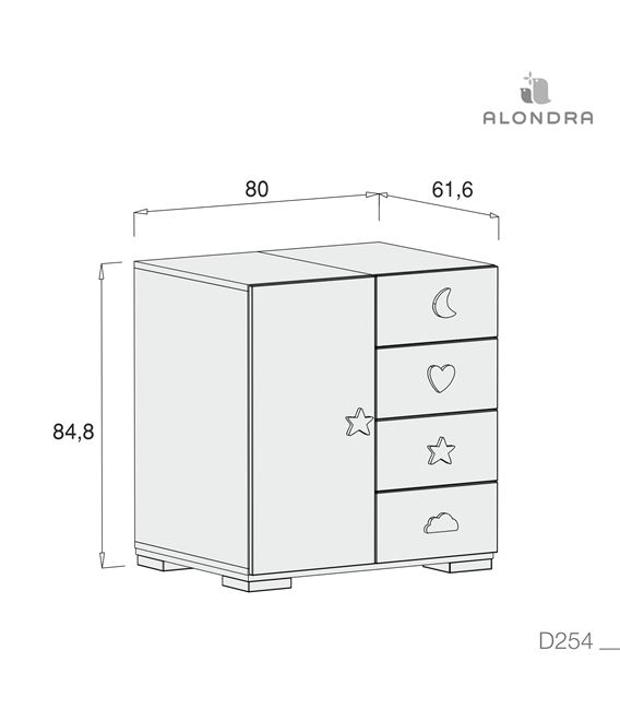 CÓMODA BUBBLE GRIS (4 CAJONES / 1 PUERTA) - D254-TECH