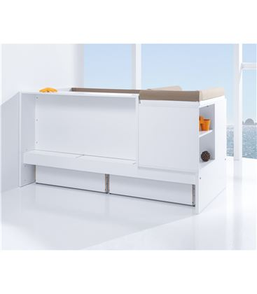CUNA CONVERTIBLE SERO MATHS BLANCO BRILLO CON CAJONES - K550C-BACKVIEW