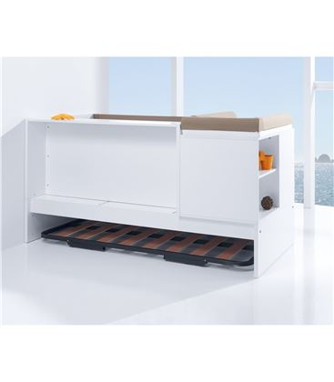 CUNA CONVERTIBLE SERO MATHS BLANCO BRILLO CON CAMA NIDO - K550N-BACKVIEW