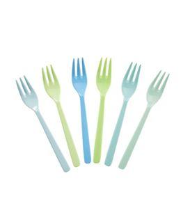 6 TENEDORES 14CM MELAMINA BLUE&GREEN