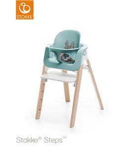 TRONA STOKKE STEPS HAYA NATURAL, ASIENTO BLANCO CON BABYSET AQUA BLUE - STEPSNATUBLANAZU