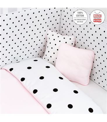 JUEGO COLCHA, PROTECTOR Y COJINES BE DOTS ROSA 70X140 - 42130A
