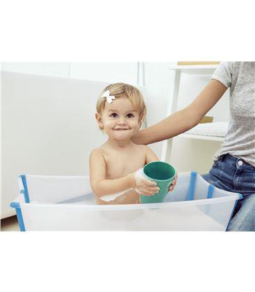 PACK BAÑERA PLEGABLE FLEXI BATH TRANSPARENTE AZUL CON SOPORTE Y TOY CUPS - TOYCUPSAZUL