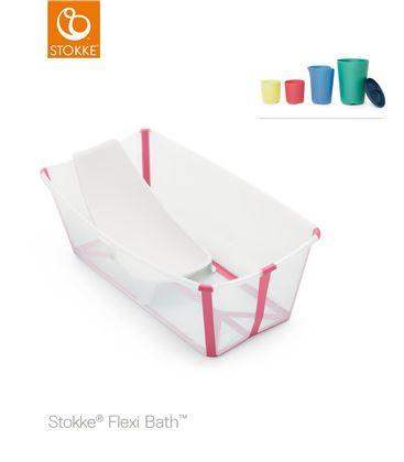 PACK BAÑERA PLEGABLE FLEXI BATH TRANSPARENTE ROSA CON SOPORTE Y TOY CUPS - FLEXIBATHCUPSROSA