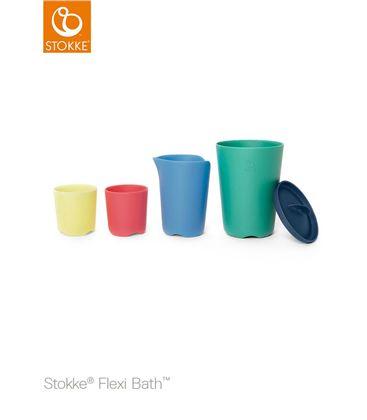 PACK BAÑERA PLEGABLE FLEXI BATH TRANSPARENTE ROSA CON SOPORTE Y TOY CUPS - TOYCUPS