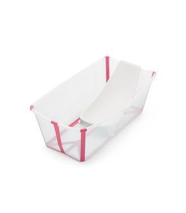 PACK BAÑERA PLEGABLE FLEXI BATH TRANSPARENTE ROSA CON SOPORTE Y TOY CUPS - PACK-FLEXIBATH-TRANSPARENTE-ROSA