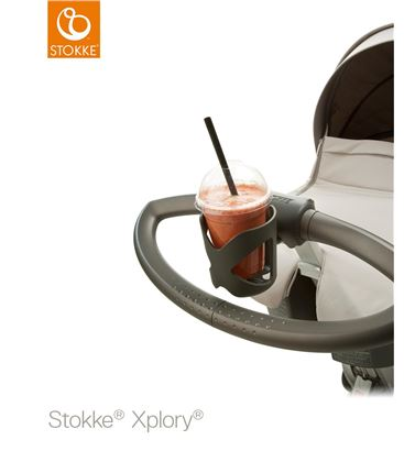 STOKKE XPLORY V6 BRUSHED GREY CHASIS PLATA NEGRO - CUPHOLDERXPLORY1
