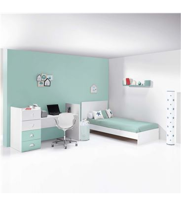 CUNA CONVERTIBLE JUST BUBBLE BLANCO Y MENTA - K374-M7755B