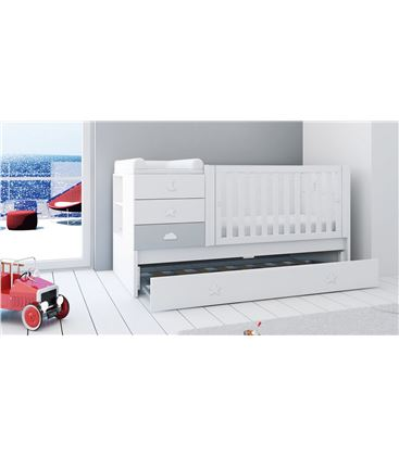 CUNA CONVERTIBLE SERO BUBBLE GRIS MATE CON CAMA NIDO - K554NM7778A