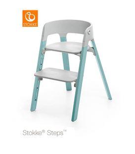 TRONA STOKKE STEPS PATAS HAYA AQUA BLUE ASIENTO GRIS - SILLASTEPSAQUAGRIS