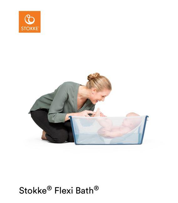 PACK BAÑERA PLEGABLE FLEXI BATH TRANSPARENTE AZUL CON SOPORTE - FLEXIBATHAZULBUENA1